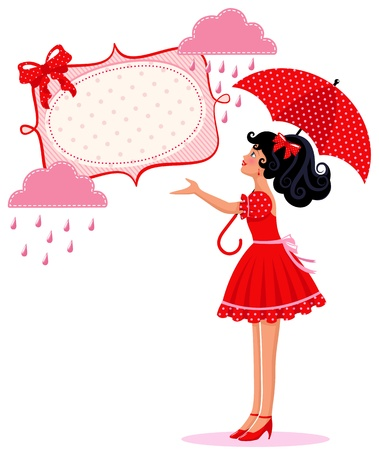 Girl with umbrella under a frame with clouds and raindrops Vector