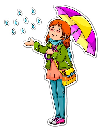 rain cartoon: Young girl with an umbrella on a rainy day