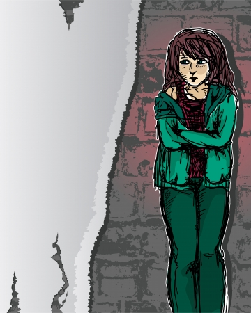 harassment: Girl standing against a brick wall, looking scared and depressed Illustration