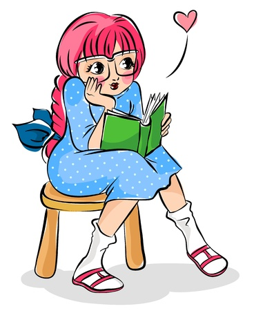 plait: Cute girl reading a book Illustration