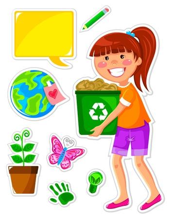 afvalbak: Set van iconen met betrekking tot ecologie en een meisje recycling papier Stock Illustratie
