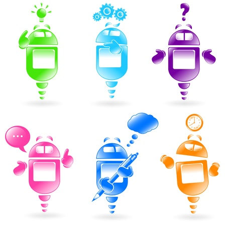 Collection of robots with different expressions and actions Vector