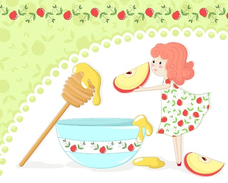 apple and honey: Girl with apple and honey on pomegranate patterned background