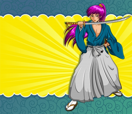 manga style: Manga style samurai on a colorful background  elements are grouped and layered separately for easy editing Illustration