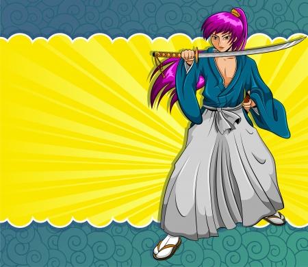 cartoon warrior: Stile samurai Manga su elementi a sfondo colorato sono raggruppati e strati separatamente per facilitare il montaggio