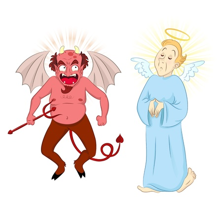 conscience: Cartoon devil and angel Illustration