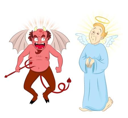 conciencia moral: Cartoon diablo y �ngel