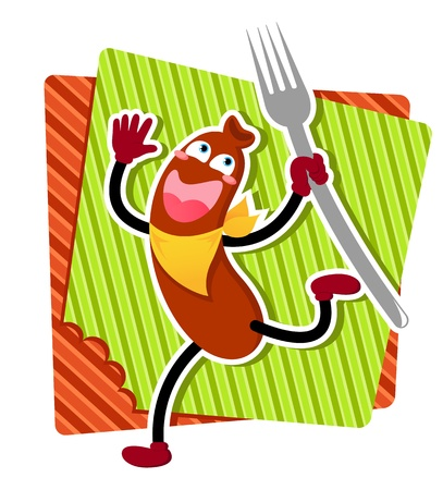 wiener: Happy cartoon sausage running with a fork Illustration
