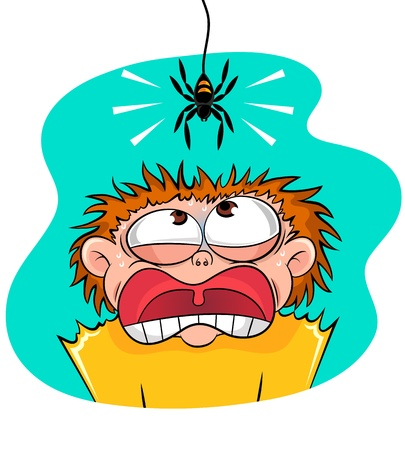 Boy scared of spider Stock Vector - 16511082