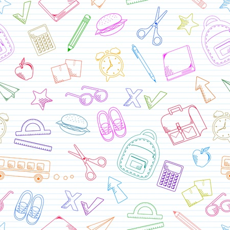 Seamless pattern of school related doodles Vector