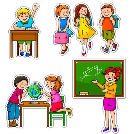 cartoon school girl: Set of children and teacher at school Illustration
