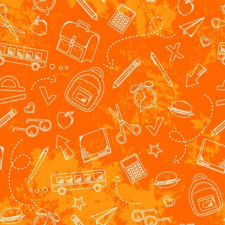 Nahtlose Muster mit grungy Textur und school doodles Vektorgrafik
