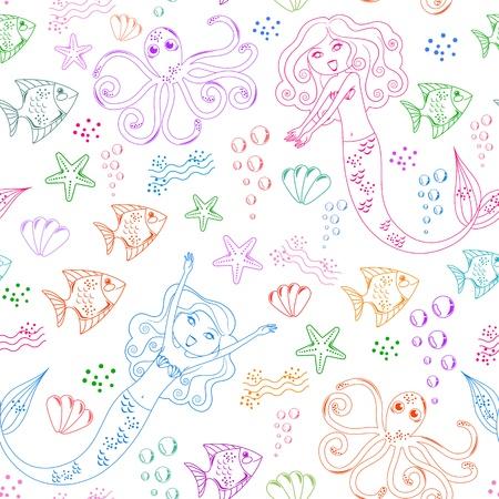 Seamless pattern com doodles de sereias e outras criaturas do mar