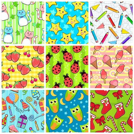 Collection of different seamless patterns with adorable designs Vector