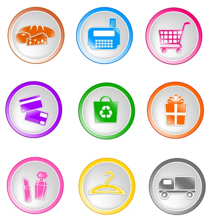 pharmacy store: Set of glossy shopping icons