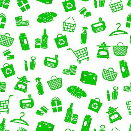 Patrón sin fisuras con iconos de compras Ilustración de vector
