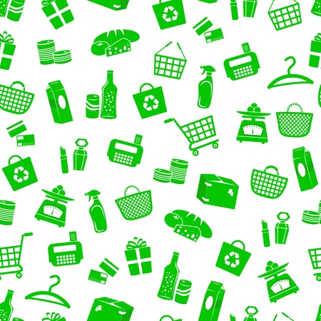 commercial recycling: Seamless pattern with shopping icons