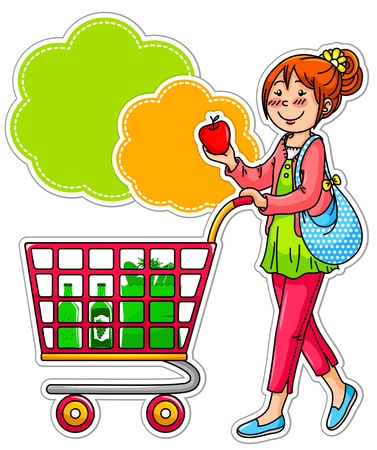 woman shopping cart: Girl shopping for grociries in the supermarket