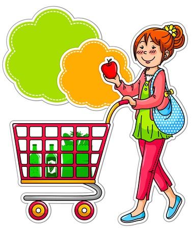 Menina de compra por grociries no supermercado