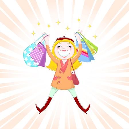 rijke vrouw: Gelukkig meisje winkelen Stock Illustratie