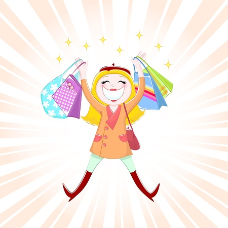 caricature woman: Happy girl shopping Illustration