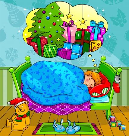 child bedroom: El ni�o peque�o so�ando con los regalos de Navidad