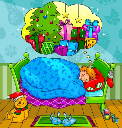 snooze: Little boy dreaming about Christmas presents Illustration