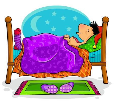 im bett liegen: Gl�cklich aussehender Mann schlafend auf seinem Bett Illustration