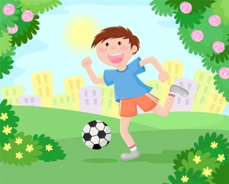 actividad fisica: chico jugando al fútbol en el parque Vectores