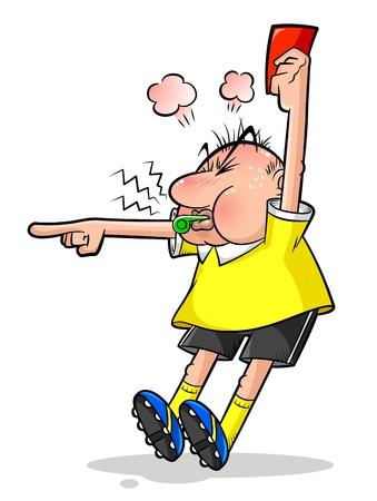 Árbitro de fútbol de dibujos animados que señala y sostiene una tarjeta roja