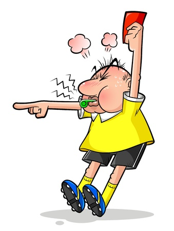 fault: Cartoon soccer referee pointing and holding a red card