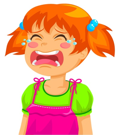 little girl crying Vector