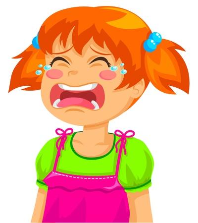 wenen: meisje huilt Stock Illustratie