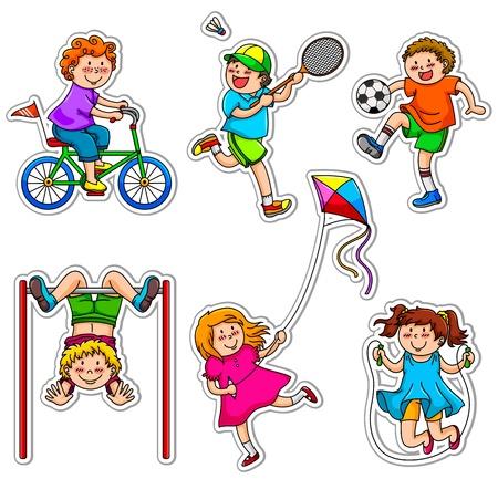 buiten sporten: Kinderen doen fysieke activiteiten door middel van spel Stock Illustratie