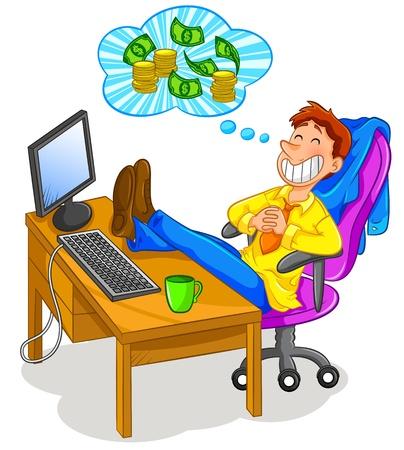 materialistic: lavoratore seduto in ufficio e pensare ai soldi