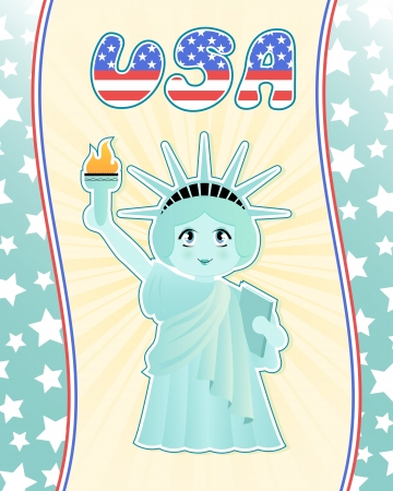 Cute statue of liberty on decorated american style background Stock Vector - 16511084