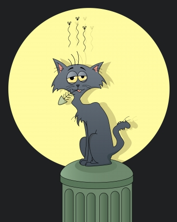 pitiful: smelly cat chewing a fish bone on a trash can Illustration