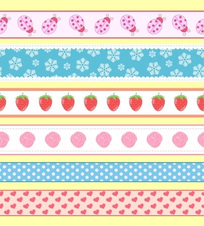 Collection of cute seamless banners Vector