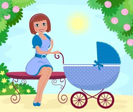 babysitter: Young woman with a stroller sitting in the park