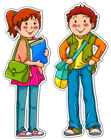 cartoon school girl: Male and female students standing next to each other Illustration