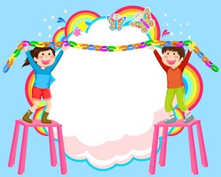 sukkot: Bambini appendere decorazioni su sfondo astratto