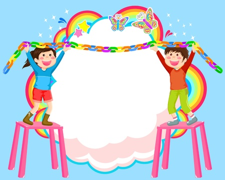 cooperate: Kids hanging decorations on abstract background Illustration