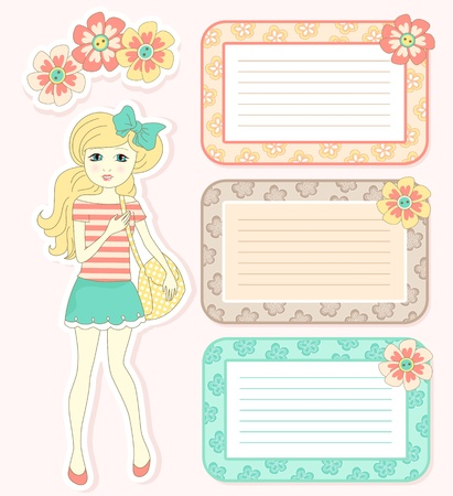 full frame: Cute girl with flowers and frames for design Illustration