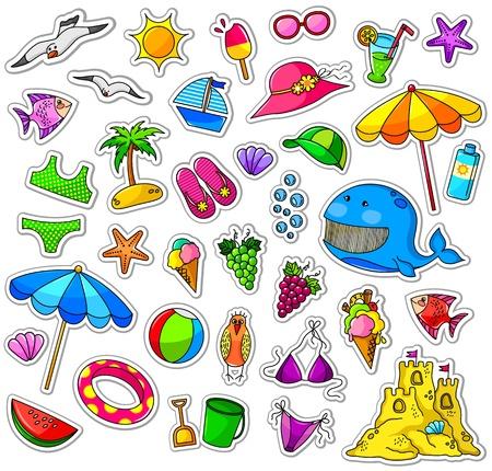 zomer: Grote verzameling van de zomer iconen Stock Illustratie