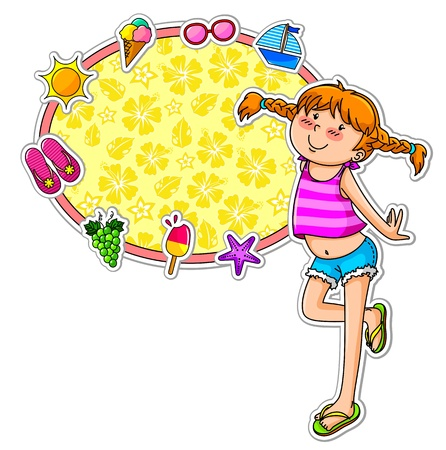 l in summer clothes standing next to a frame decorated with summer symbols Vector