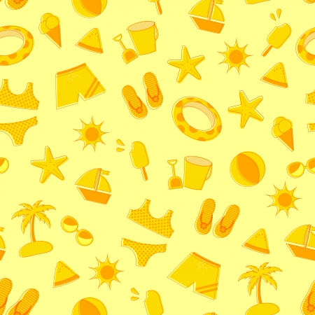 Seamless pattern of summer and beach symbols Vector