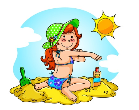 sun protection: Girl at the beach applying sunscreen on her skin  Illustration