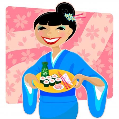 japanese sake: Mujer japonesa en kimono que sirve sushi y sake