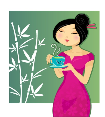 Pretty girl drinking a cup of tea Stock Vector - 16511105