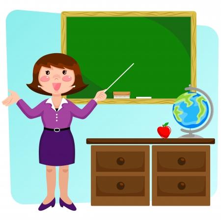 Profesor de pie en un classrom y apuntando a la pizarra